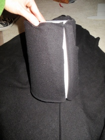 Main hat area with fleece being wrapped.