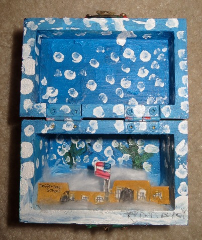 Inside of Box. Derek's idea to illustrate his school in the snow. Very creative!