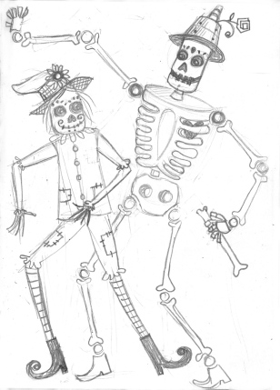 "Then I thought it could be fun to do Skeletons as ""Oz Characters""-Still do!"