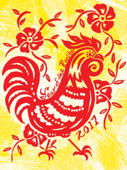 Red Rooster Chinese New Year colors