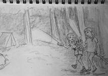 This idea came from a picture I took of my daughter walking with a friend at Derek's baseball game.